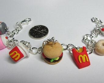 McDonalds/Maccy D's inspired charm bracelet,  burger, fries, coke, milkshakes, sugar donut, miniature food jewellery, junk food, fast food
