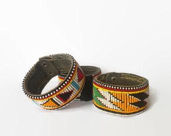 Maasai masai bracelet wristband cuff beaded colourful leather popper Kenya African tribal charity