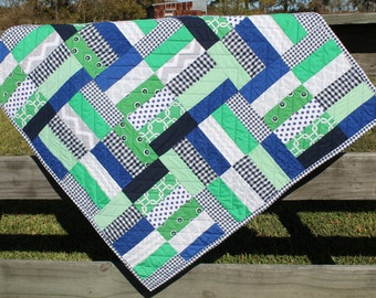 Blue and Green Baby Quilt, Baby Blanket