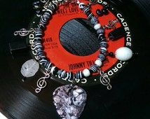 Hand Painted Guitar Pick Charm Bracelet, Black and White with Silver Sparkle