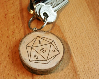 Wooden keychain with d20 design - gift idea - personalized on request - pyrograhy
