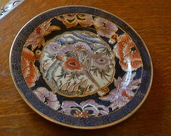 Vintage SATSUMA plate in lovely colours and drawings of 70's xr.mar.093