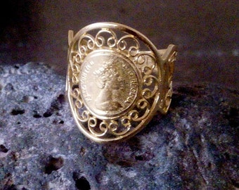 SALE! Coin Gold ring, lace ring, Victoria queen ring,Filigree gold ring, gold jewelry, gift for her, birthday gift.
