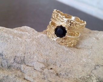 SALE!  Black Ring -Gold Ring -Onyx Lace Ring - Filigree Ring -Natural Gemstone Ring - Gold Wide Ring - February Birthstone - Delicate Ring