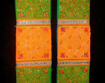 """Two Hill Tribe Fabric Trim Pieces 18"""" X 3"""" Embroidered Traditional Ethnic Design Orange, Green, Pink, Blue and Gold Metallic"""