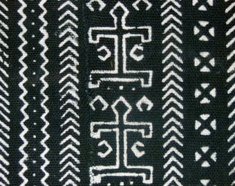 African Tribal Mud Cloth Mali Black & White Homespun Cotton Textile, Sewing, Decor, Clothing *3
