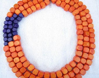 Fashion Necklace,Multi Strand Necklace,Orange Necklace,Purple Necklace,Bead Necklaces,Statement Necklace,Bridesmaid Gifts,Handmade Jewelry
