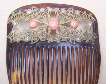 Antique Hair Comb, Gilt Metal, coral Cabochons, Faux Tortoiseshell, Hair Accessory, Victorian Comb, Edwardian Comb, Hair Jewelry