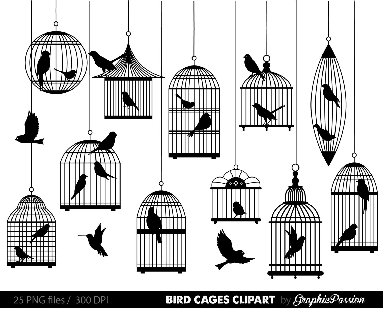 Bird cage clipart | Etsy