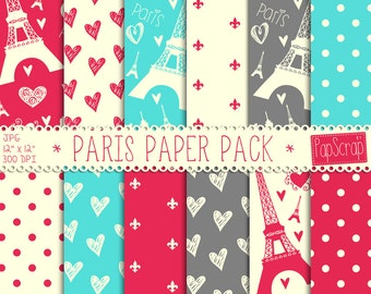 "Paris digital paper : ""Paris Paper Pack"", parisian digital paper in pink, turquoise, grey, cream, digital scrapbook paper, Paris scrapbook"