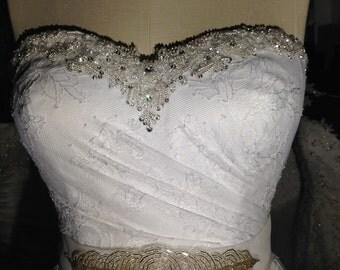 Rochelle. White sweetheart gown.