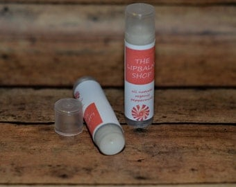 Peppermint Flavored Lip Balm, All natural balm with shea butter and beeswax, peppermint flavor, stocking stuffer, grandma stocking stuffer