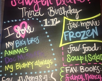 Birthday Party Decor - SawyerBlake is 3! Personalized black canvas with NEON chalk paint!
