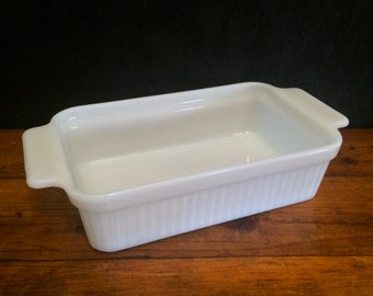 Vintage Fire King Milk Glass Loaf Pan, Mid Century Anchor Hocking