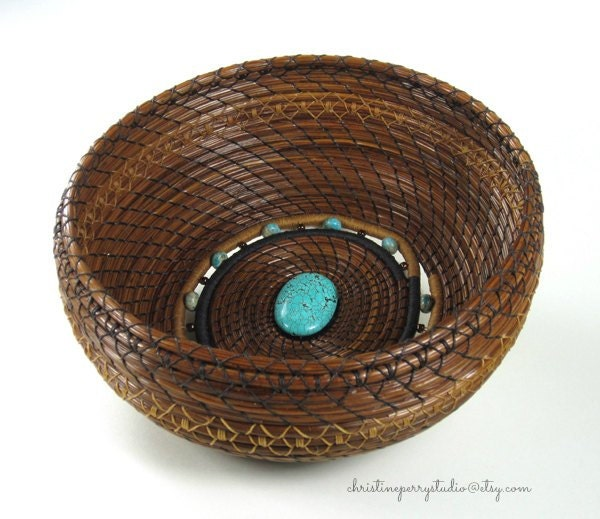 Handmade Pine Needle Baskets : Coiled pine needle basket art with howlite by
