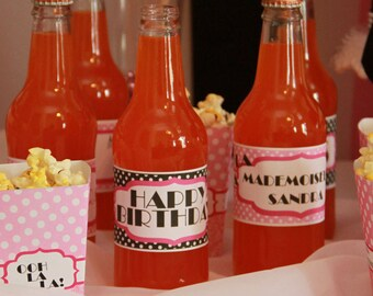 Paris Party, Paris Water Bottle Labels, Paris Birthday, Printable Party, Paris Party Deorations