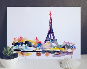 Paris travel illustration - from original watercolor painting Painting - Eiffel Tower art Print - France