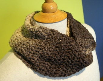 brown infinity scarf, crochet cowl scarf, chunky cowl, loop scarf