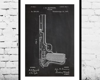 J.M. Browning Firearm Art, J.M. Browning Firearm Patent, J.M. Browning Firearm Print, J.M. Browning Firearm Poster, Gun art
