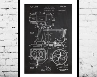Mixer Patent, Kitchen MIxer KitchenAid Poster, Kitchen MIxer KitchenAid Patent, Kitchen MIxer KitchenAid Print, Kitchen Aid, Kitchen art