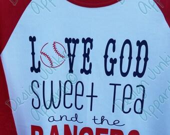 Raglan Baseball Tee - Texas Rangers Love God Sweet Tea & the Rangers