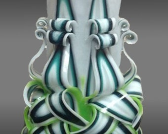 "12cm/5"" Carved Candle - Small Candle - White/Green Candle"