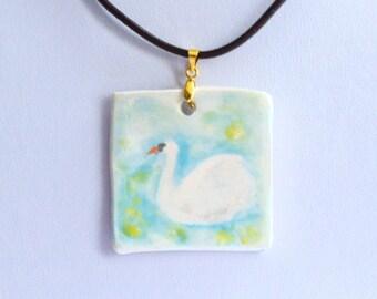 Handmade Hand Painted Ceramic Porcelain Necklace Pendant - Swan
