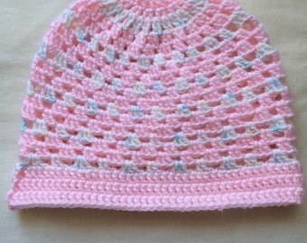 Pink and White Girls' Hat - Crochet Girls' Hat - Child Size - reduced price