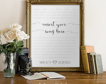Custom Wedding Lyrics and Date POSTER / Custom Wall Art / Wedding Song Poster / Anniversary / 8x10 Poster – Printable DIY, Instant Download