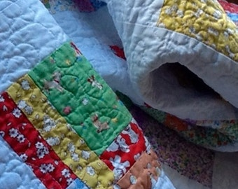 Patience Corner, Cot, Crib, Play mat,  Patchwork Quilt, 1930's Reproduction fabric, Nursery Decor.