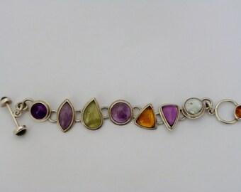 handmade sterling silver semi precious stone set bracelet
