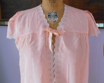 1930's beautiful Peach Bed Jacket with Embroidery on Front