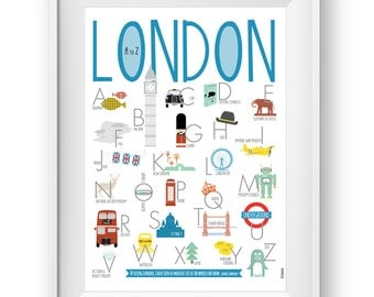 Alphabet poster London A to Z, Wall Art Prints