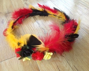 Feather, Flower, Crown, Races, Melbourne Cup, Mardi Gras, Dress-ups, Themed Parties, Hand Crafted, Colourful, Music Festival, Accessories