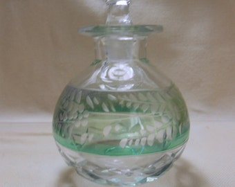 Rare 1930/40 glass etched/cut  Perfume Bottle