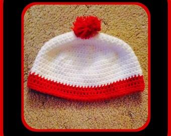 Crochet Waldo's beanie inspired by the Wheres Waldo Books. Hand Made. Newborn - Adults