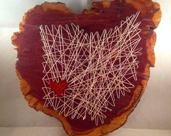 Handmade Ohio string art on cedar