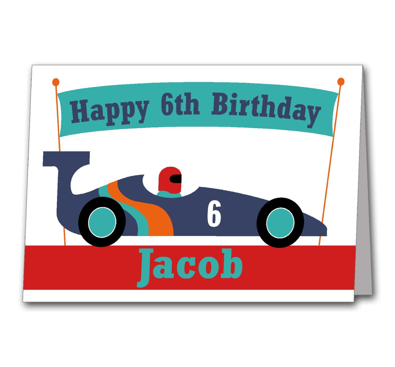 Racing Car Birthday Card Personalised Formula 1 Card for – Personalized Kids Birthday Cards