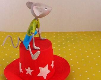 """Little mouse """"Tim"""", sculpture papier mâché"""