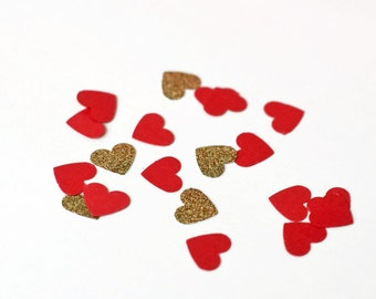 100 Red and Gold Heart Confetti - Paper Confetti - Table Confetti - Valentines Day - Engagement Party - Wedding Decor - Party Decoration