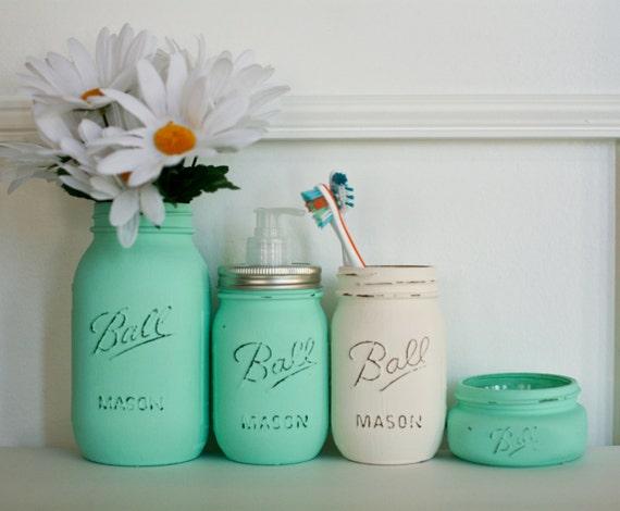 customizable painted distressed mason jars bathroom set mint and : mason jars bathroom set