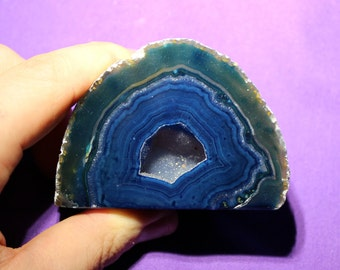 Dyed Blue Agate Geode from Brazil