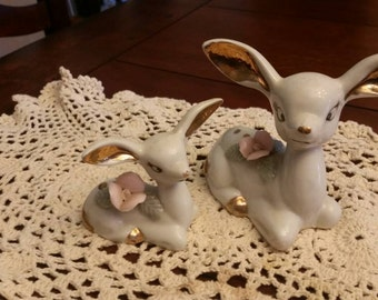 1950s doe and fawn figurines