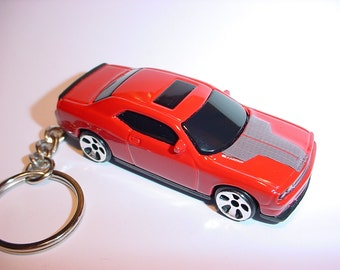 3D Dodge Challenger SRT8 custom keychain by Brian Thornton keyring key chain finished in stock SRT color trim diecast metal body