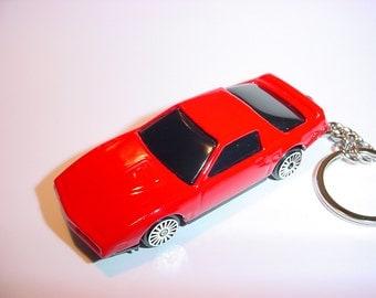 3D 1982 Pontiac Firebird custom keychain by Brian Thornton keyring key chain finished in red color trim diecast metal body knight rider era