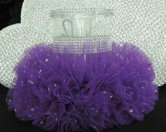 tulle vase purple dark cylinder centerpiece