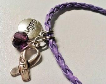 "Purple ""Believe in Hope"" awareness bracelet"