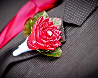 SALE Red Duck tape rose boutonniere