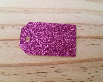 Hot Pink Glitter Tags - Lot of 50 tags.
