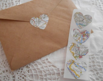 Vintage Map Heart Wedding Event Envelope Seals - Travel Love Stickers x 25